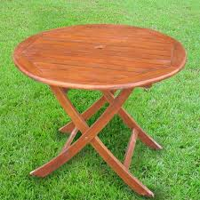international caravan 38 in w x 38 in l round folding dining table