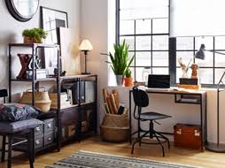 ikea office. White Workspace With Wood Floors And Industrial Style Black Metal Shelving Desk. Ikea Office