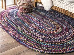 braided throw rugs natural fiber hand multi oval area rug cotton