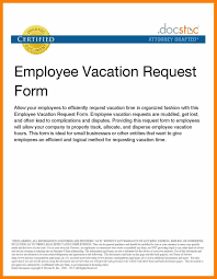 Example Letter Of Request For Vacation Leave New Letter Sample