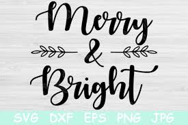 Svg, dxf, png & eps vector. Merry And Bright Graphic By Tiffscraftycreations Creative Fabrica