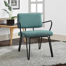 Living Room Accent Chair Blue Upholstery Mid Century Accent Chair Dining Living Room