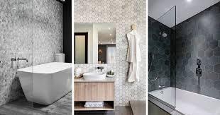 Bathroom remodel gray tile Shiny Grey Wall Bathroom Tile Ideas Grey Hexagon Tiles Contemporist Bathroom Tile Ideas Grey Hexagon Tiles Contemporist