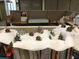 christmas office decoration ideas. Little Christmas Village Huts With Snow Office Decoration Ideas