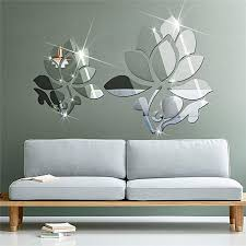 lotus 3d mirror wall stickers for wall decoration diy home decor living room wall decal