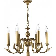 classic antique gold ceiling chandelier with 6 candle lights