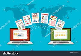 File Sharing System Design File Transfer Two Laptops Folders On Stock Vector Royalty
