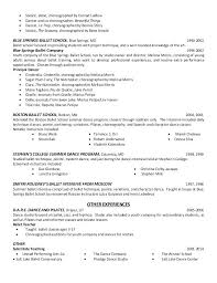 Dance Resumes Template Amazing Dance Resume For College Ballet Dancer Resume Ballet Education 48