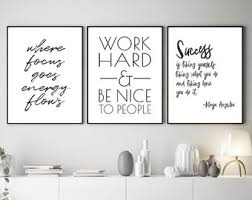Office wall art Contemporary Motivational Printables Instant Office Wall Art Set Of Files Maya Angelou Quote Work Hard And Be Nice To People Sign Digital Files Etsy Office Wall Art Etsy