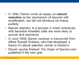 lecture presentations for campbell biology ninth edition jane b  22 in 1844 darwin wrote an essay on natural