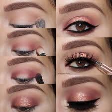bronze glitter eye makeup tutorial for brown eyes