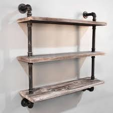 level rustic industrial timber pipe shelf cm wall on armen living isadore inch industrial walnut