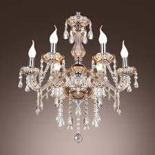 exquisite and elegant six lights crystal glass chandelier hanging bright and brilliant crystals