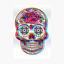 Mexican Skull Psychedelic Art Tattoo Man Calavera Candy El Dia De Los Muertos Poster