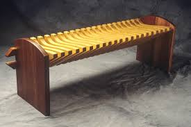 unique wood furniture designs. Pine And Cherry Wood Bench With Curved Seat By Seth Rolland Custom Furniture Design Unique Designs