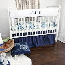 solid white amp navy gender neutral baby crib rail cover