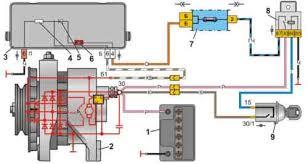 Нива ВАЗ генератор устройство проверка 6 контрольная лампа заряда аккумуляторной батареи 7 блок предохранителей 8 реле зажигания 9 выключатель зажигания