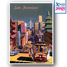 Escher three worlds 1974 san francisco 38x17 poster. Vintage Travel Poster Retro San Francisco Wall Art Deco A5 A4 A3 Sizes Laminated Ebay