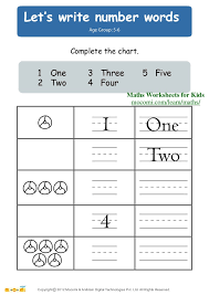 Let's write number words – Maths Worksheets for Kids – Mocomi.com