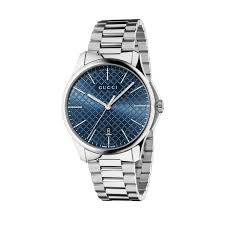 gucci g timeless slim men s blue dial stainless steel bracelet watch