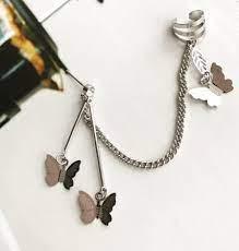 double pierced ear clip exquisite chain