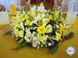 big round table royal yellow centerpiece for ydp agong