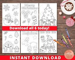 Christmas coloring book pages, sheets and pictures reindeer and more, these coloring pages will keep the kids happy for hours! Kids Christmas Coloring Pages Instant Download Kids Coloring Sheets Holiday Coloring Printables For Kids By Indigo Ink Boutique Catch My Party