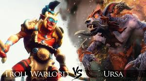 dota 2 ursa vs troll warlord one click battle youtube