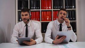 Pc Support Specialist Two Male Call Centre Support Specialist Talking With