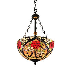 16inch european past retro style chandeliers multicolor rose pattern glass shade bedroom living room dining room kitchen lights