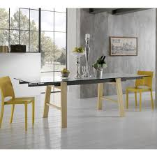 modern design extendable dining table with glass top alma