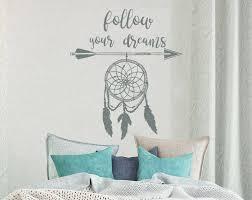 follow your dreams wall decal arrow feather dream catcher vinyl sticker bohemian decor wall art dreamcatcher