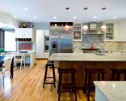 Amazing Trendy L Shaped Eat In Kitchen Photo In Chicago With Stainless Steel  Appliances,