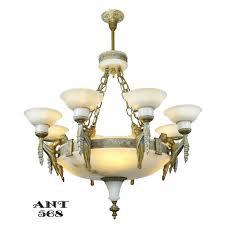 art deco grand alabaster bowl chandelier antique eight light fixture ant 568 for antiques com classifieds