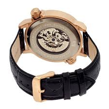 reign thanos rose gold tone stainless steel case black leather strap skeleton dial men s watch