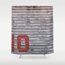 minimalist text corrugated metal no parking shower curtain