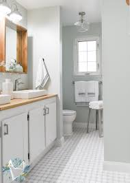 modern farmhouse bathroom makeover on a budget light grey farmhouse shower tile f44 grey