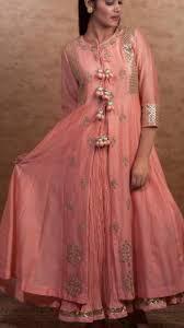 Pakistani Silk Kurtis Designs Beautiful Chanderi Anarkali Kurti With Skirt Embellished
