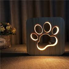 <b>New</b> Wooden Dog Paw <b>3D</b> Night <b>LED Lamp</b> Kids Bedroom ...