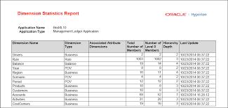 Dimension Statistics Report Example