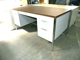 White walnut office furniture Series Metal Double Pedestal Desk Used Metal Office Desk Desks With Double Pedestals And Laminate Top White Kqubeinfo Metal Double Pedestal Desk Kqubeinfo