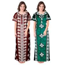 Long Nighty Design Jwf Design Printed Round Neck Cotton Nighty For Ladies
