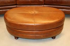 details about new art deco oval ottoman real top grain leather coffee table restoration style