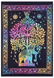 tie dye elephant tree of life mandala wall hanging cotton poster bohemian small tapestry decorative wall