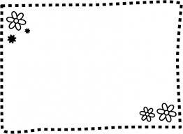 白黒の小花の点線フレーム飾り枠イラスト 無料イラスト かわいいフリー