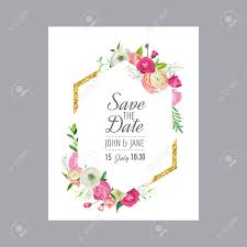 Save The Date Card Template With Gold Glitter Frame And Pink