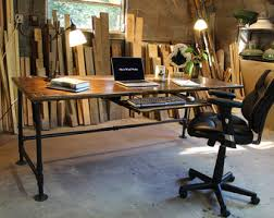 industrial style office desk modern industrial desk. Industrial Pipe Desk With Shelving Unit And Built-in Lamp Style Office Modern