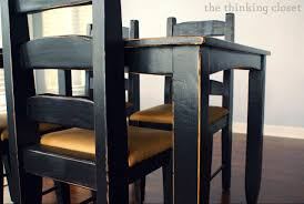 Black Distressed Table Makeover  The Thinking Closet - Distressed dining room table and chairs