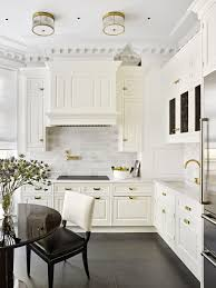 Traditional Custom Cabinets White Hand Painted Polished Brass