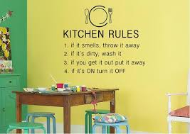 kitchen rules text quotes wall stickers